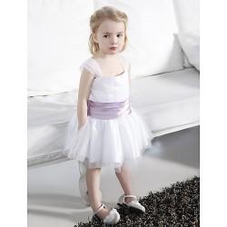 Ball Gown Knee Length Flower Girl Dress Tulle Stretch Satin Sleeveless
