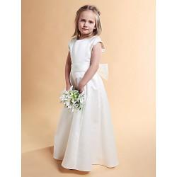 A Line Princess Floor Length Flower Girl Dress Satin Short Sleeve