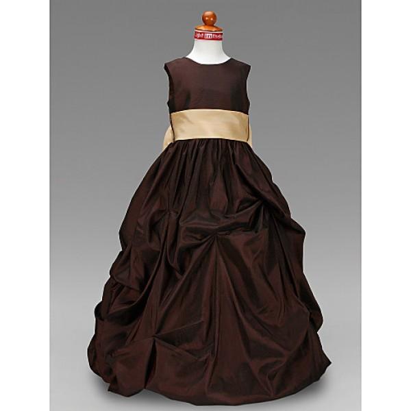 Ball Gown Floor-length Flower Girl Dress - Taffeta Sleeveless Flower Girl Dresses