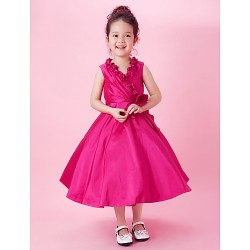 A Line Princess Tea Length Flower Girl Dress Taffeta Sleeveless