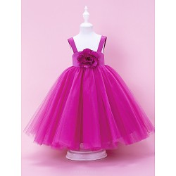 A Line Princess Ball Gown Floor Length Flower Girl Dress Satin Tulle Sleeveless