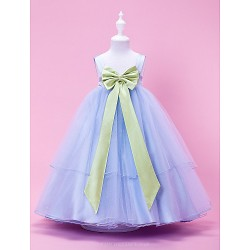 A Line Princess Ball Gown Tea Length Flower Girl Dress Tulle Stretch Satin Sleeveless