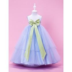 A-line/Princess/Ball Gown Tea-length Flower Girl Dress - Tulle/Stretch Satin Sleeveless