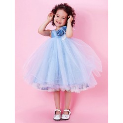 A Line Princess Ball Gown Knee Length Flower Girl Dress Tulle Taffeta Sleeveless