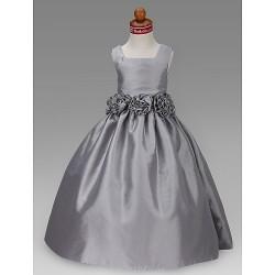 A Line Princess Ball Gown Floor Length Flower Girl Dress Taffeta Sleeveless