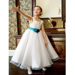 Formal Evening / Wedding Party / Vacation Dress - White A-line Off-the-shoulder Tea-length Organza / Satin Flower Girl Dresses