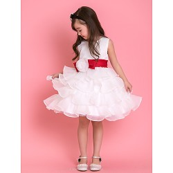 Formal Evening Wedding Party Vacation Dress White Ball Gown Jewel Knee Length Tulle