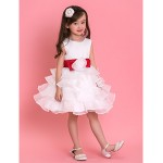 Formal Evening / Wedding Party / Vacation Dress - White Ball Gown Jewel Knee-length Tulle Flower Girl Dresses
