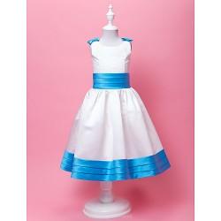 A Line Ball Gown Tea Length Flower Girl Dress Satin Sleeveless