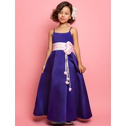 A Line Princess Floor Length Flower Girl Dress Satin Sleeveless