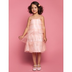 Sheath Column Tea Length Flower Girl Dress Tulle Sleeveless