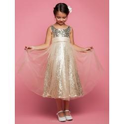 A Line Princess Tea Length Flower Girl Dress Tulle Sleeveless