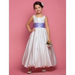 A-line/Princess Ankle-length Flower Girl Dress - Satin Sleeveless