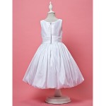 A-line/Princess Knee-length Flower Girl Dress - Taffeta Sleeveless Flower Girl Dresses