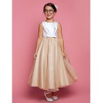A-line/Princess Ankle-length Flower Girl Dress - Satin/Organza Sleeveless Flower Girl Dresses