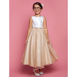 A-line/Princess Ankle-length Flower Girl Dress - Satin/Organza Sleeveless