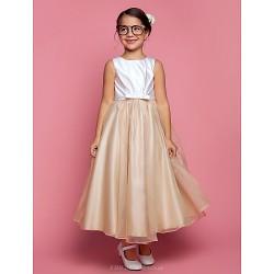 A Line Princess Ankle Length Flower Girl Dress Satin Organza Sleeveless