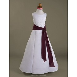 A Line Princess Floor Length Flower Girl Dress Chiffon Satin Sleeveless