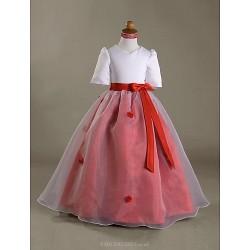 Ball Gown Floor-length Flower Girl Dress - Satin/Organza Short Sleeve