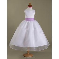 A-line/Princess Tea-length Flower Girl Dress - Satin/Organza Sleeveless