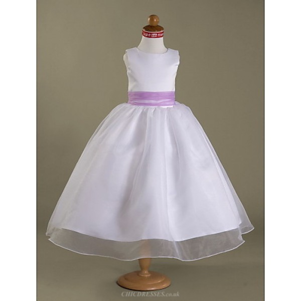 A-line/Princess Tea-length Flower Girl Dress - Satin/Organza Sleeveless Flower Girl Dresses