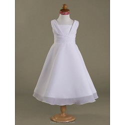 A Line Princess Tea Length Flower Girl Dress Chiffon Satin Sleeveless
