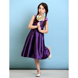 Knee Length Taffeta Junior Bridesmaid Dress Grape A Line Princess Spaghetti Straps