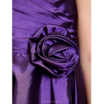 Knee-length Taffeta Junior Bridesmaid Dress - Grape A-line / Princess Spaghetti Straps Junior Bridesmaid Dresses