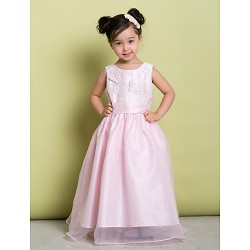 A Line Floor Length Flower Girl Dress Organza Sleeveless