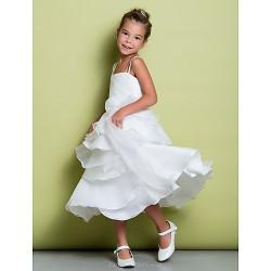 A-line Tea-length Flower Girl Dress - Organza / Taffeta Sleeveless