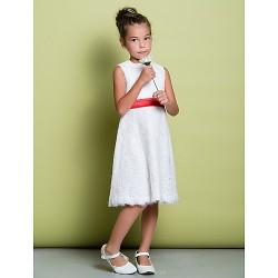 Sheath Column Knee Length Flower Girl Dress Lace