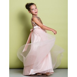 A Line Sweep Brush Train Flower Girl Dress Tulle Sequined Sleeveless