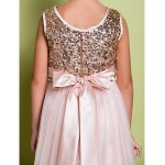 A-line Sweep/Brush Train Flower Girl Dress - Tulle / Sequined Sleeveless Flower Girl Dresses