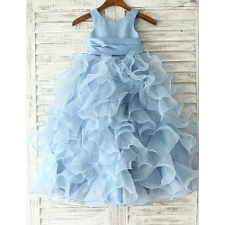Princess Sheath Column Floor Length Flower Girl Dress Organza Sleeveless