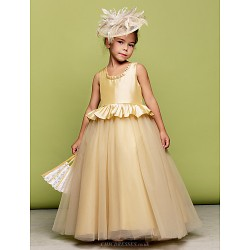 Ball Gown Floor Length Flower Girl Dress Taffeta Tulle Sleeveless