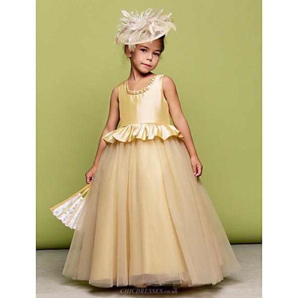Ball Gown Floor-length Flower Girl Dress - Taffeta/Tulle Sleeveless Flower Girl Dresses