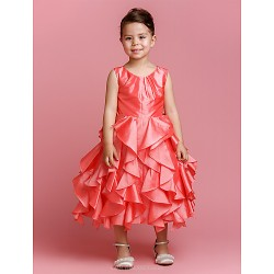 Ball Gown Tea-length Flower Girl Dress - Taffeta Sleeveless