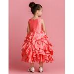 Ball Gown Tea-length Flower Girl Dress - Taffeta Sleeveless Flower Girl Dresses