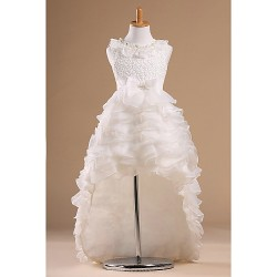 Flower Girl Dress Chapel Train Satin Tulle Princess Sleeveless Dress