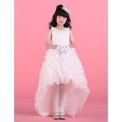 Ball Gown Asymmetrical Flower Girl Dress - Satin/Tulle Sleeveless