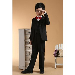 First Communion Ring Bearer Suit Black Polester Cotton Blend 3 Suit Bearer Dressy Suits