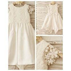 A Line Knee Length Flower Girl Dress Cotton Lace Short Sleeve