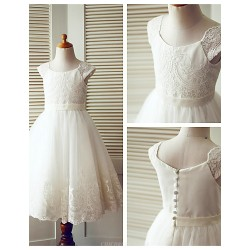 A Line Tea Length Flower Girl Dress Lace Tulle Short Sleeve