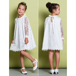 A-line Knee-length Flower Girl Dress - Lace Long Sleeve