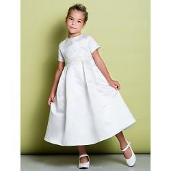 A Line Tea Length Flower Girl Dress Satin Short Sleeve