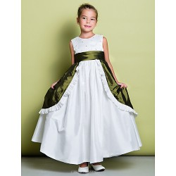 A Line Ankle Length Flower Girl Dress Taffeta Sleeveless