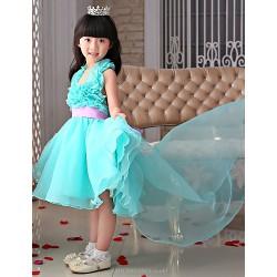 Flower Girl Dress Front Short And Long Back Princess Organza Sleeveless Dress