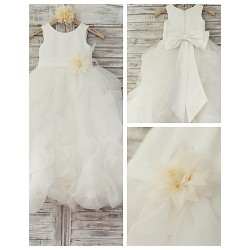 Princess Floor Length Flower Girl Dress Organza Satin Sleeveless