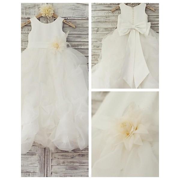 Princess Floor-length Flower Girl Dress - Organza / Satin Sleeveless Flower Girl Dresses