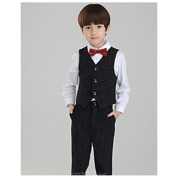 Black Uniform Cloth Ring Bearer Suit - 4 Pieces Flower Girl Dresses